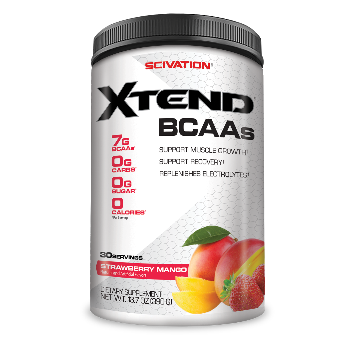 Scivation Xtend BCAA Powder, Strawberry Mango, 30 Servings