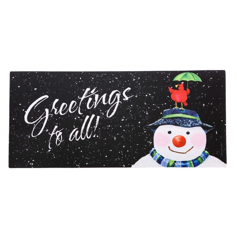 SNow in the forecast Sassafras Switch Mat, Welcome guests to your home with a seasonal doormat display! By Evergreen Enterprises from USA