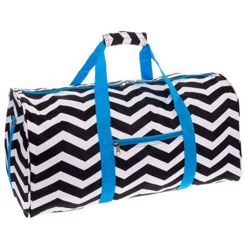 "SILVERHOOKS NEW Chevron 22"" Duffle Duffel Travel Carry-On Bag w/ Turquoise Trim"