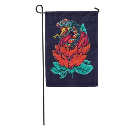 NUDECOR Cobra Colorful Old School Snake Flower Tattoo Skin Oldschool Head Garden Flag Decorative Flag House Banner 12x18 inch - image 2 of 2