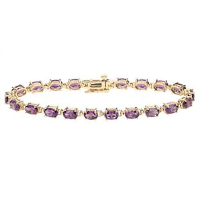 14k Gold Oval Amethyst Stone Bracelet (12.60.cts.tw) by BROVAMT1706