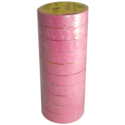 """Pink Electrical Tape 3/4"""" x 66 ft Roll 7 mil (10 Pack)"""