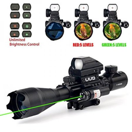 Uuq 4 16X50eg Ar15 Tactical Rifle Scope Red Green Illuminated Range Finder Reticle W  Green Laser And Multi Optical Coated Holographic Dot Sight  12 Month Guarantee