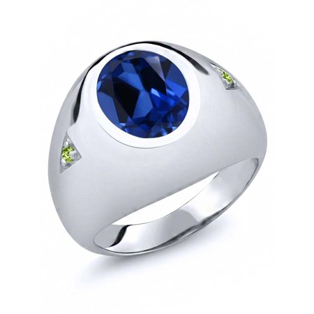 6.23 Ct Oval Blue Simulated Sapphire Green Peridot 925 Silver Men's Ring