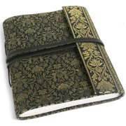 Handmade Black and Gold Sari Silk Covered Journal (India)