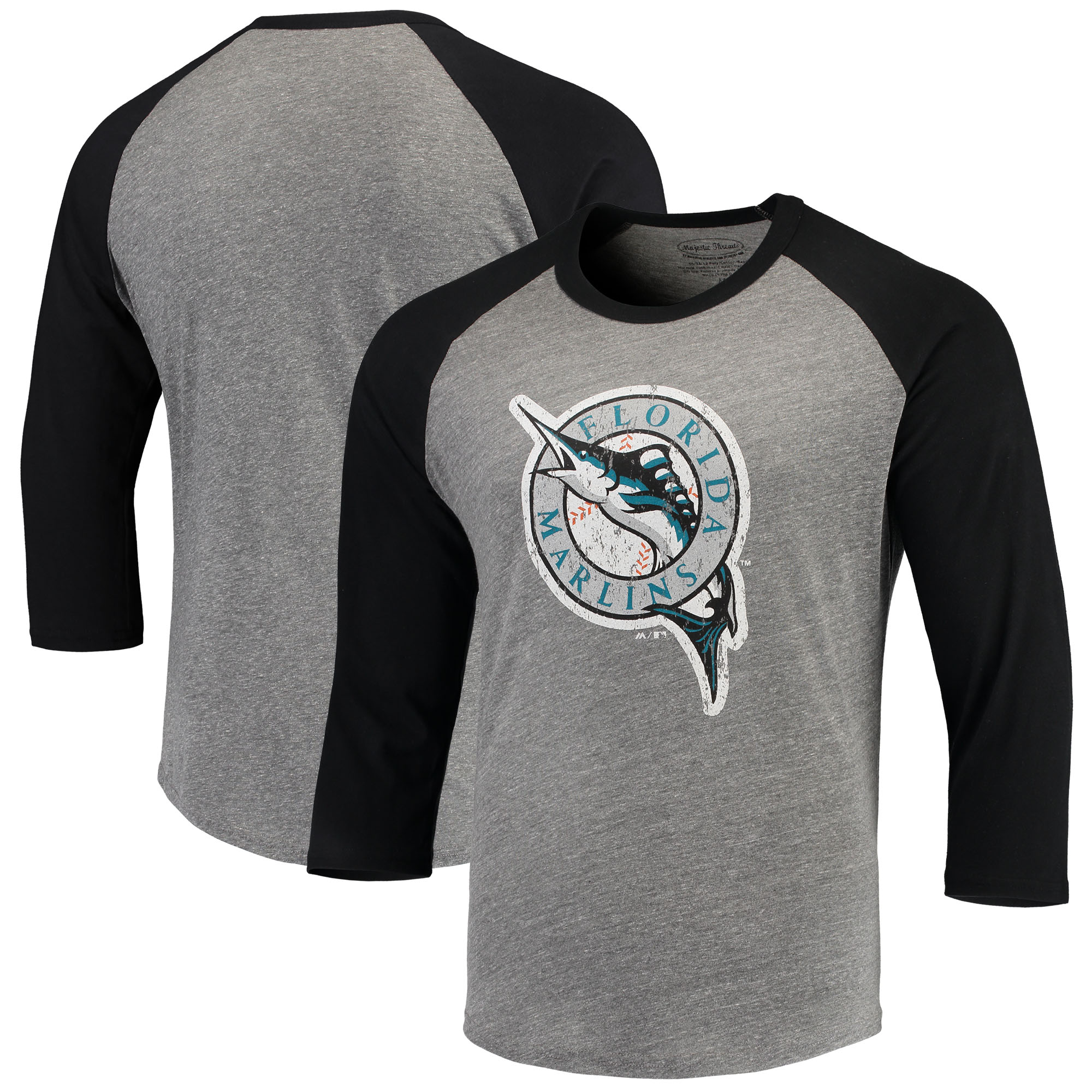Miami Marlins Majestic Threads Cooperstown Collection 3/4-Sleeve Raglan Tri-Blend T-Shirt - Heathered Gray/Black