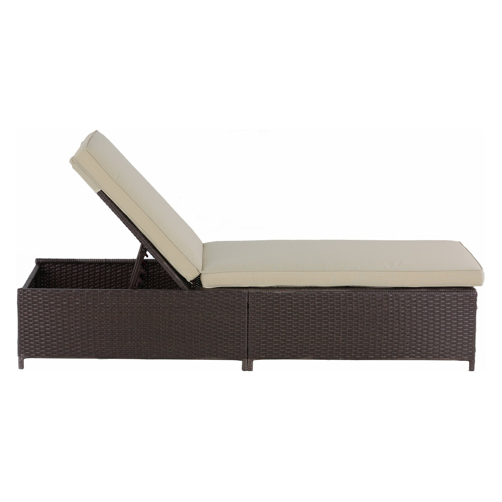 Serta Laguna Outdoor Storage Chaise Lounge Brown Wicker by Millwork Holdings Co., Inc.