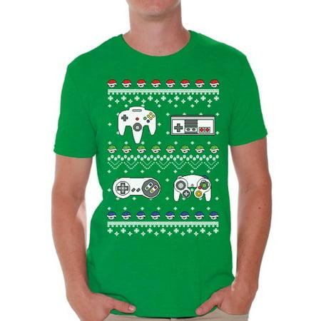 Awkward Styles Gamer Christmas Tshirt for Men Retro Gamer Shirt Funny Christmas Shirts for Men Ugly Christmas T Shirt Geeky Christmas T-Shirt Xmas Party Gifts for Him Nerdy Xmas Tshirt Xmas Gaming