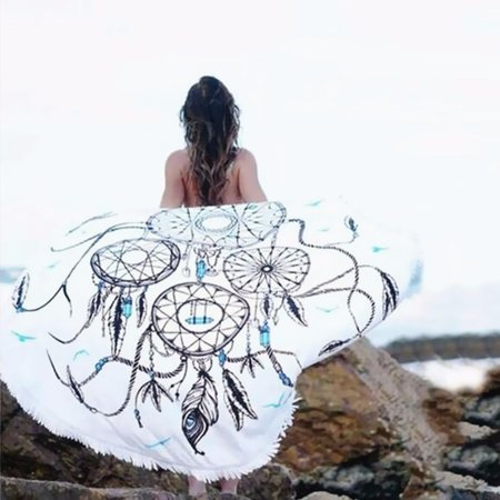 57'' Polyester Round Bohemian Dream Catcher Beach Hippie Towel Blanket Tapestry Yoga Camping Picnic Mat Wall Hanging Summer Gift ()