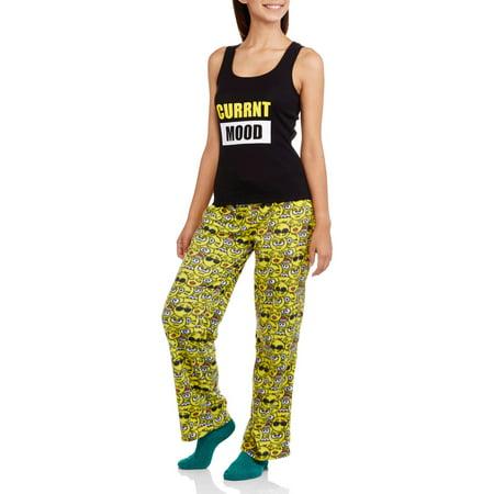 Body Candy Juniors' Knit Pajama Tank Top with Luxe Fleece Sleep Pant 2 Piece Sleepwear Set