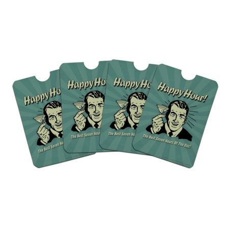 Happy Hour Best Seven Hours of the Day Funny Humor Credit Card RFID Blocker Holder Protector Wallet Purse Sleeves Set of