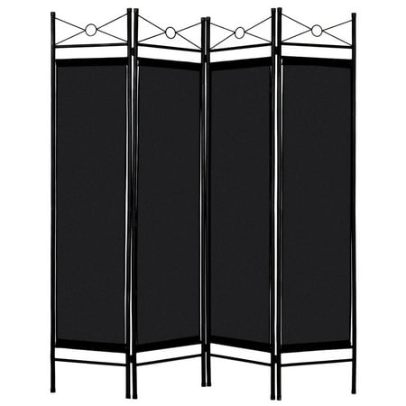 Brown 4 Panel Room Divider Privacy Screen Home Office Fabric Metal Frame - image 10 of 10