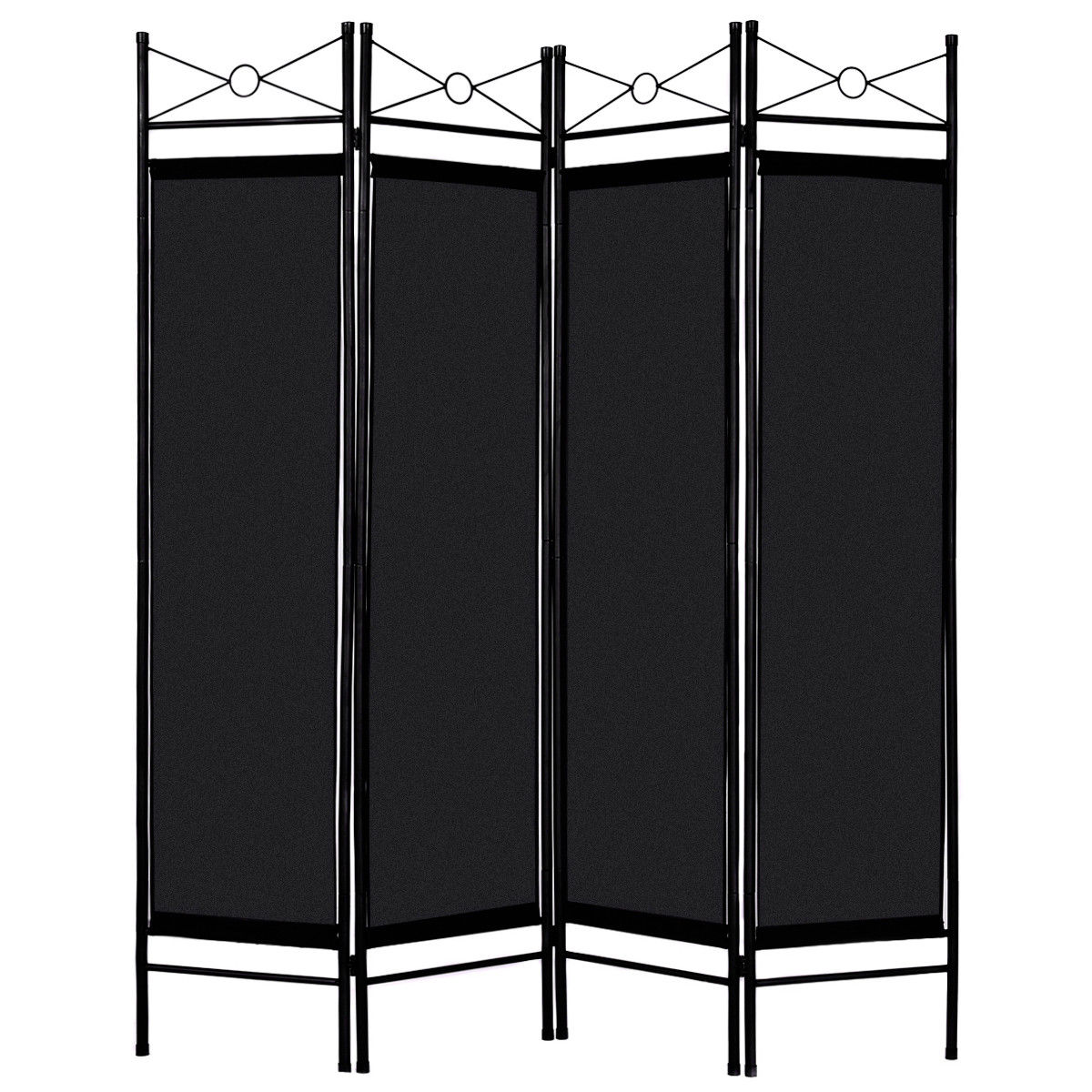 Superieur Costway Black 4 Panel Room Divider Privacy Screen Home Office Fabric Metal  Frame
