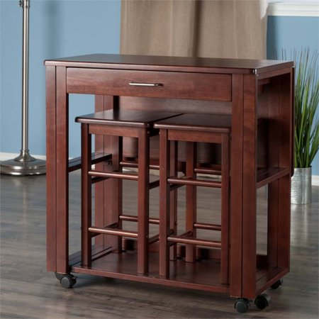 Winsome Wood Fremont 3-Piece Space Saver Set, Walnut Finish