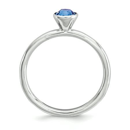 Sterling Silver Stackable Expressions High 5mm September Swarovski Ring Size 8 - image 2 de 3