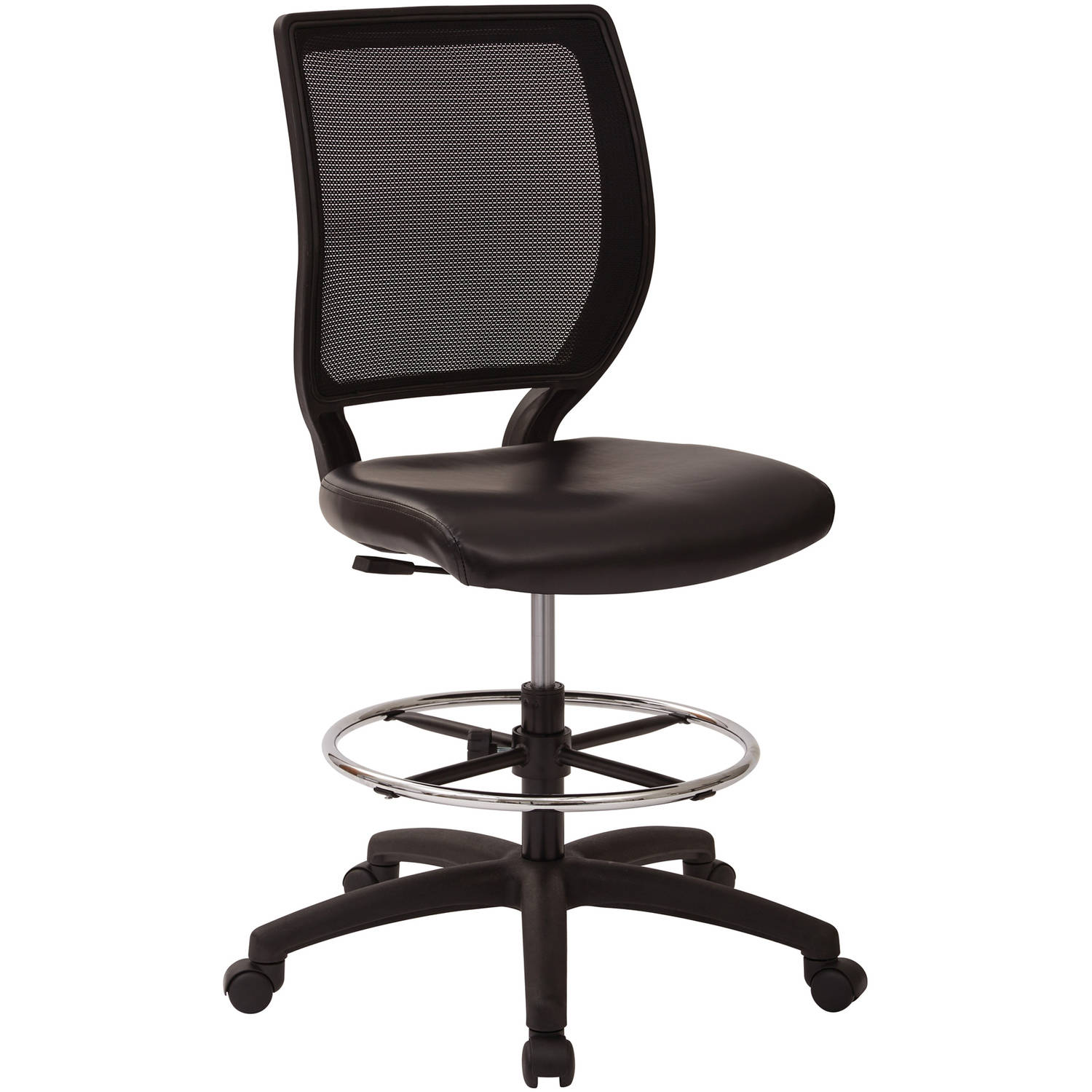 Office Star Deluxe Woven Mesh Back Armless Drafting Chair, Black Vinyl Seat with Adjustable footring and Dual Wheel Carpet Casters