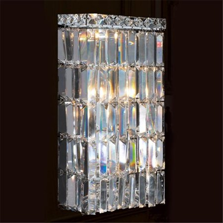 Cascade Collection 4 Light Chrome Finish Crystal Rectangular Wall Sconce 8