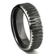 Titanium Kay Black Tungsten Carbide Hammer Finish Beveled Comfort Fit Mens Wedding Band Ring Sz 10.0