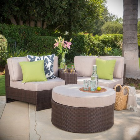 Ibarra Ibiza Wicker 4 Piece Curved Patio Seating Set with Ottoman ()