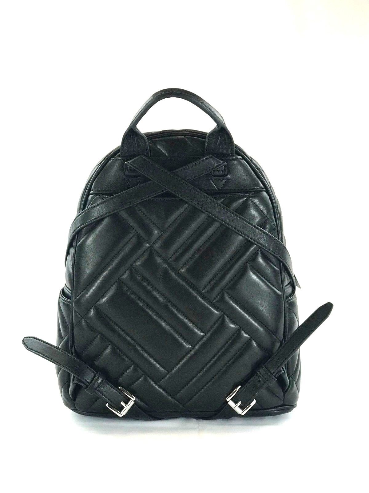 d6e027f9bc632f Michael Kors - NEW WOMENS MICHAEL KORS ABBEY MEDIUM BLACK GEO QUILTED  LEATHER BACKPACK BAG - Walmart.com