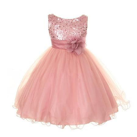Kids Dream Big Girls Rose Sequin Bodice Floral Overlaid Flower Girl Dress 12