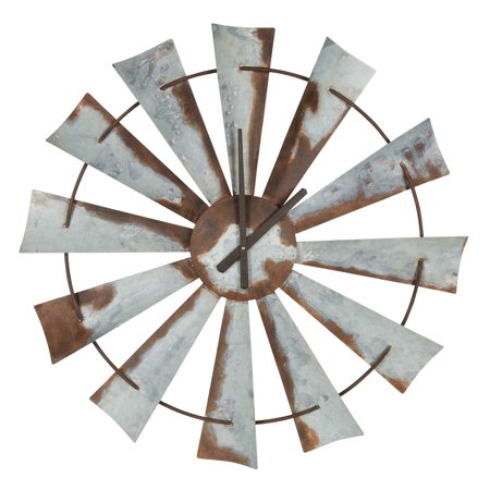 - Kate and Laurel Millbrook Windmill 32 in. Distressed Metal Wall Clock