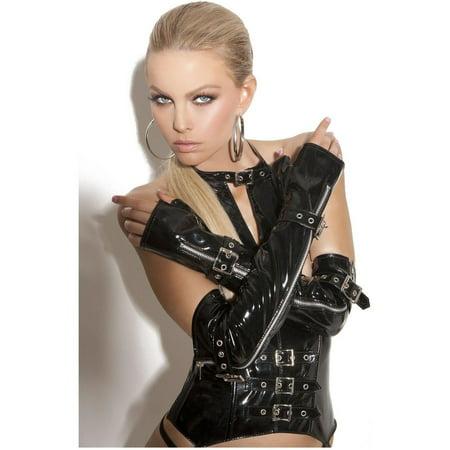 712f850a336 Lingerie Elegant Moments EM-V9431 Fingerless vinyl gloves zipper   buckle  detail Black   O ...