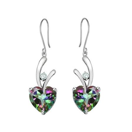 Star K 8mm Heart Shape Rainbow Mystic Quartz Hanging Hook Love Earrings in Sterling Silver