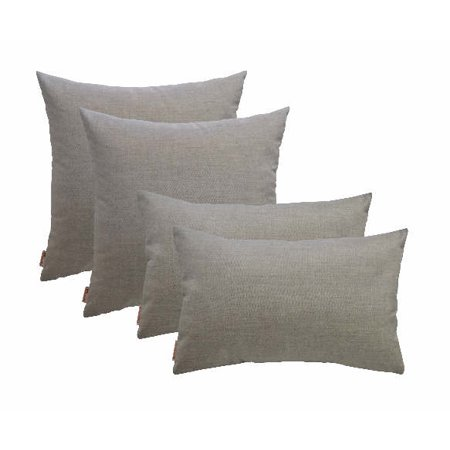 Set of 4 In/Outdoor Square & Rectangle Pillows Sunbrella Cast Ash- Choose Size