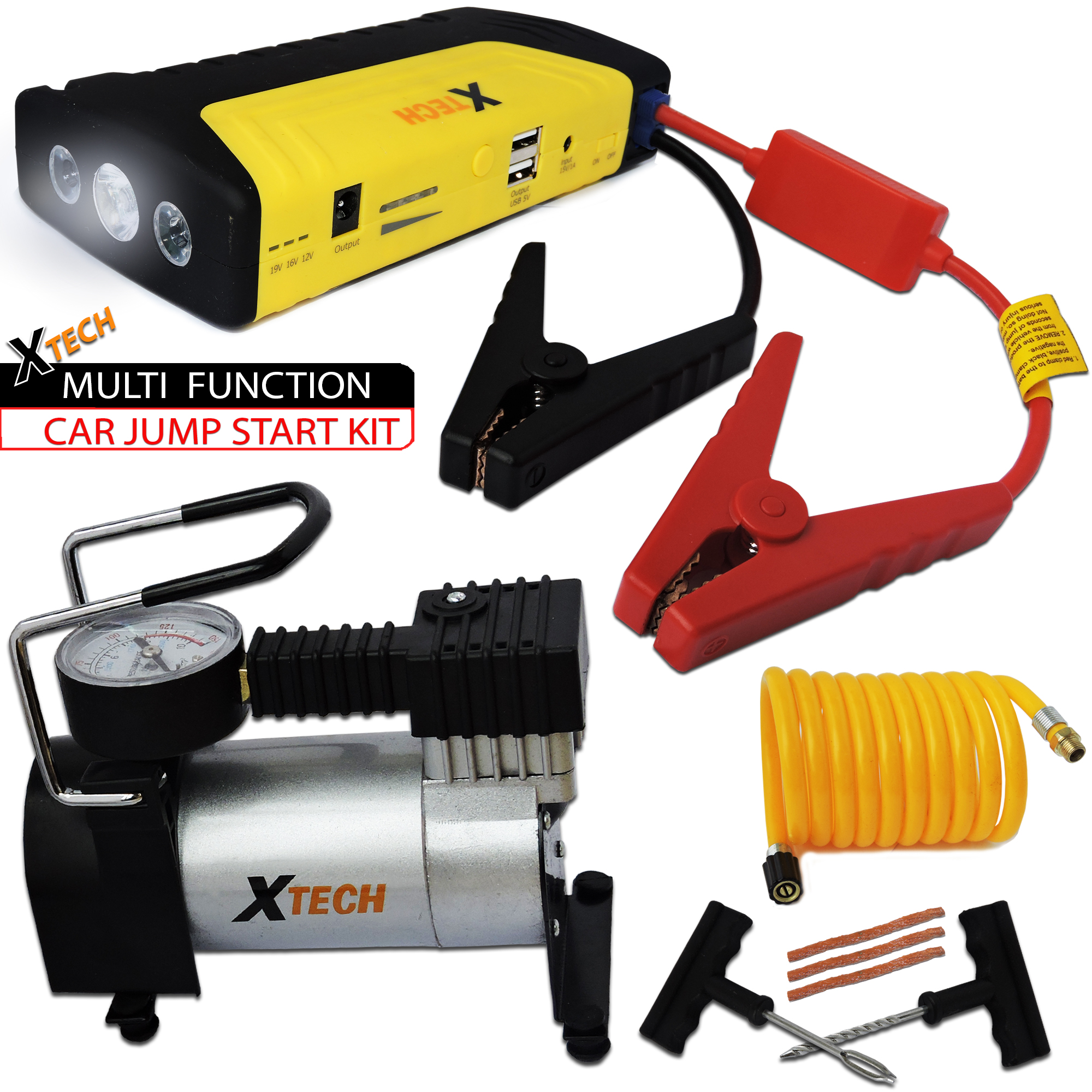 Xtech Multi Function Car JUMP STARTER 20000mAh Emergency KIT with a Portable POWER BANK + Portable Air Pump + Tire Repair Kit designed f/ Cars, Pickup Trucks, Boats SUV's & all Motor Operated Vehicles Car JUMP STARTER / Power Bank