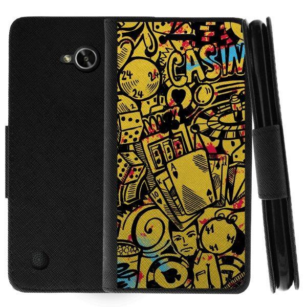 TurtleArmor ® | For LG X Power 2 | K10 Power | LV7 | Fiesta | X Charge | Fiesta 2 [Wallet Case] Leather Cover with Flip Kickstand and Card Slots - Casino Graffiti