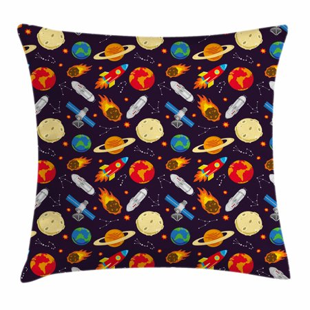 Rocker Theme (Space Throw Pillow Cushion Cover, Universe Themed Illustration with Earth Moon Constellations Saturn Rockets Stars, Decorative Square Accent Pillow Case, 20 X 20 Inches, Multicolor, by)