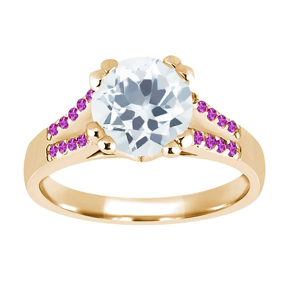 0.95 Ct Round Sky Blue Aquamarine Pink Sapphire 18K Yellow Gold Ring by
