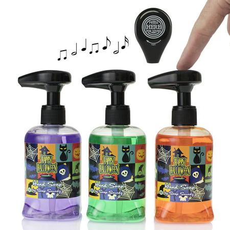 Soap Soundz (Set Of 3) Musical Holiday 8.5oz Liquid Hand Soap Dispenser Pumps Bathroom Sink