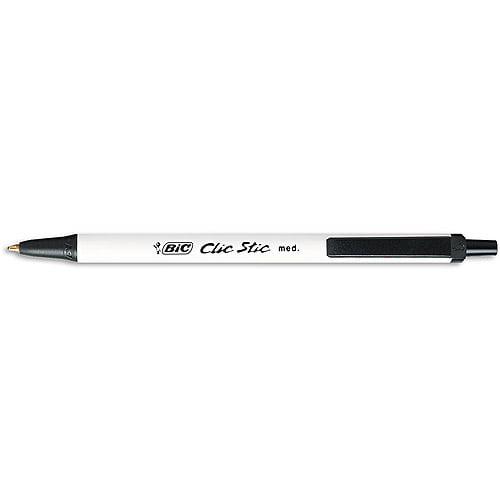 BIC Clic Stic Retractable Ball Pen, Medium, Black, 1-Dozen