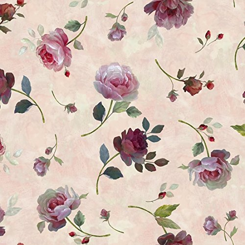 Clearance Sale~Rosewater ~Tossed Roses Cotton Fabric by Quilting Treasures
