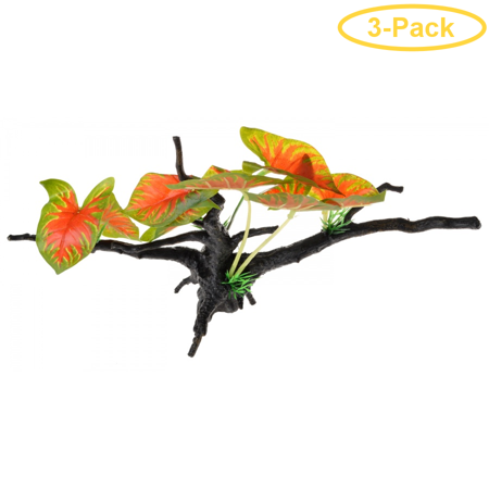 Penn Plax Driftwood Plant - Green & Red - Wide 1 Count - Pack of 3 ()