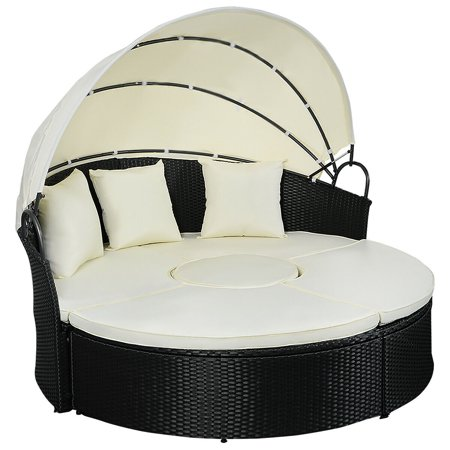 Gymax Rattan Wicker Round Retractable Canopy Daybed Sofa Furniture Set Outdoor Patio ()
