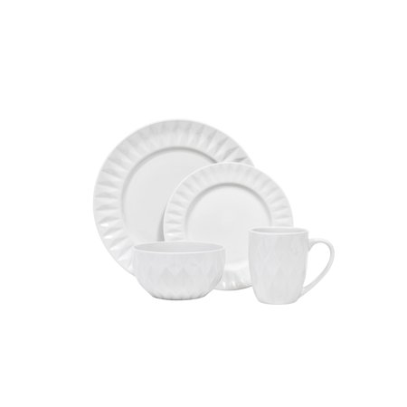 Sango: Kingston White 16 Piece Dinnerware Set, Including 4 Dinner Plates 4 Salad Plates, 4 Soup Bowls, and 4 Mugs