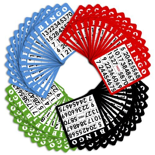100 Bingo Cards in Mixed Colors by Royal Bingo Supplies