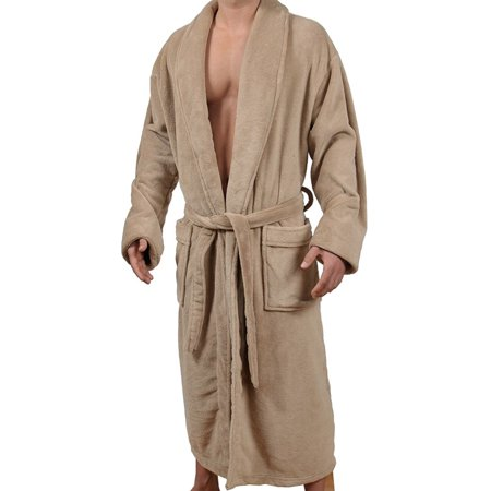Wanted Men's Micro Fleece Bathrobe - Brown Hooded Robe
