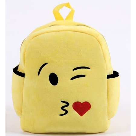 Deluxe Show Your Emoticon Emoji Face Plush Little Kids Backpack - Kiss Face - Kissy Face Emoticon