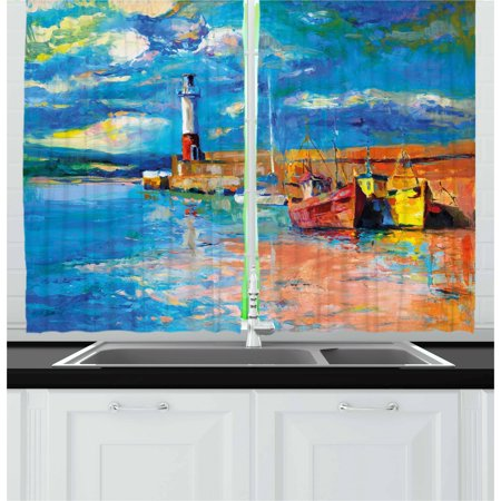 Art Curtains 2 Panels Set, Oil Painting Tones Style Lighthouse and Boats on Sea Shore Town Coastal Charm Picture, Window Drapes for Living Room Bedroom, 55W X 39L Inches, Multicolor, by Ambesonne