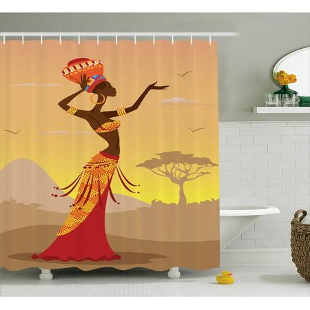 Afro Decor Shower Curtain African Woman In Desert With Gulls Flying Around Folk Female Stylish Artful