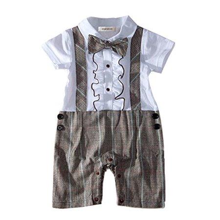 16366422b25e0 StylesILove.com - StylesILove Handsome Ruffle Bowtie Short Sleeve Formal  Wear Baby Boy Romper Onesie (12-18 Months, Khaki) - Walmart.com