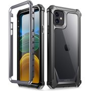 iPhone 11 Case, Poetic Full-Body Hybrid Shockproof Rugged Clear Bumper Cover, Built-in-Screen Protector, Guardian Series, Case for Apple iPhone 11 6.1 inch Black/Clear