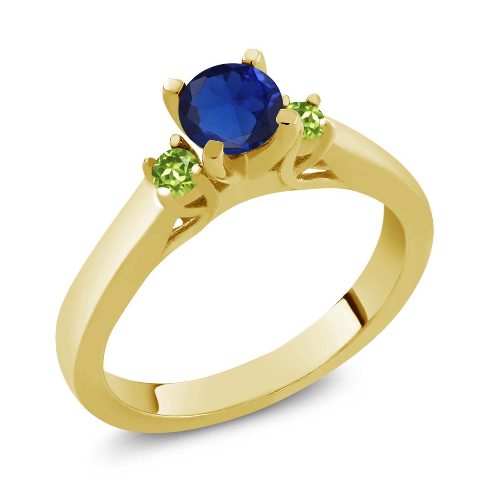 0.69 Ct Blue Simulated Sapphire Green Peridot 925 Yellow Gold Plated Silver Ring