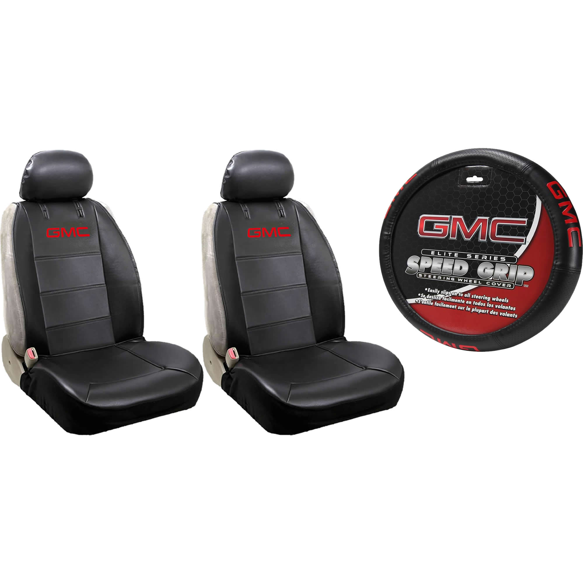 2 GMC Synthetic Leather Sideless Seat Covers & Steering Wheel Cover Set Car Truck SUV