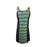 Kensie Black Multi Sleeveless Scoop-Neck Lace Front Dress M