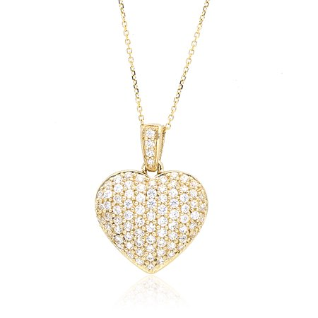 White Gold Heart Link (14k Yellow Gold Created Diamond Heart Pendant With 1mm Cable Link Chain Necklace )
